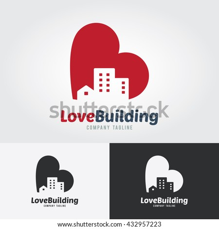 Love Building Logo Template. City with heart icon design concept. Logo for real estate. Business visual identity. Houses and skyscrapers icon. - stock vector
