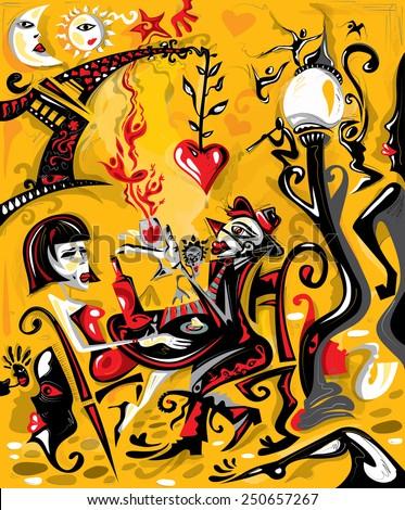 Love Cafe in Paris, City Of Love (vector Art) - stock vector