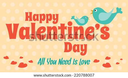 Love card for Valentine's Day. Vector cute style design - stock vector
