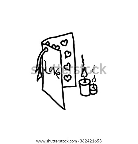 Love card love letter valentines doodle hand drawn vector - stock vector