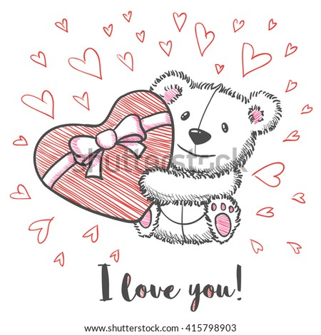 Love card with hand drawn cute bear holding heart. I  love you. Vector illustration - stock vector