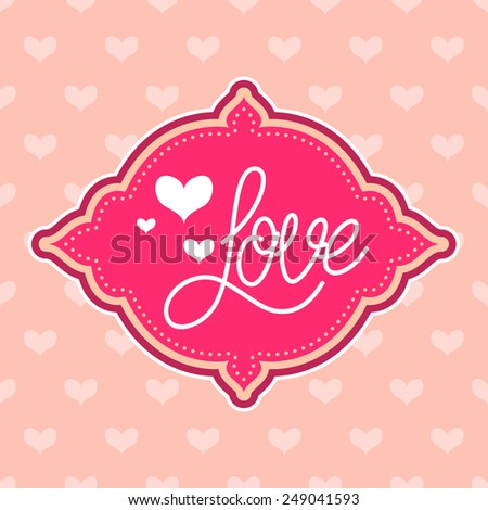 Love card with seamless heart pattern - stock vector