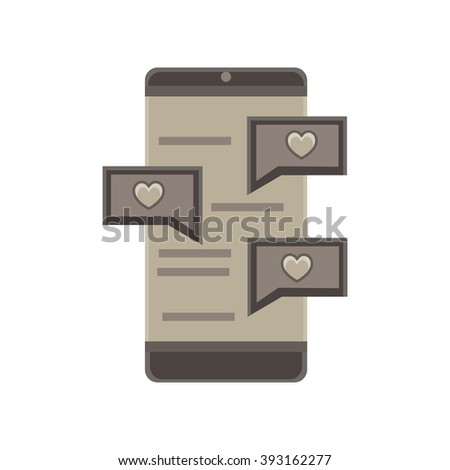 love chat in phone monochrome flat icon in gray color theme illustration object - stock vector
