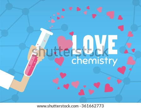 Love chemistry illustration. Hand with test tube. Test tube with love fluid. Inspirational romantic and love card for Happy Valentines Day. Stylish love poster design in cute style. Chemical reaction - stock vector