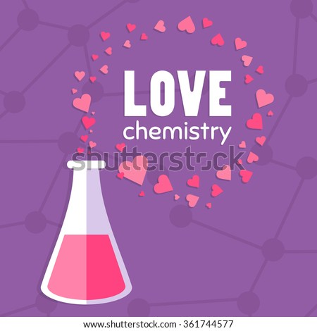 Love chemistry illustration. Set of hearts. Test tube with love fluid. Inspirational romantic and love card for Happy Valentines Day. Stylish love poster design in cute style. Chemical reaction - stock vector