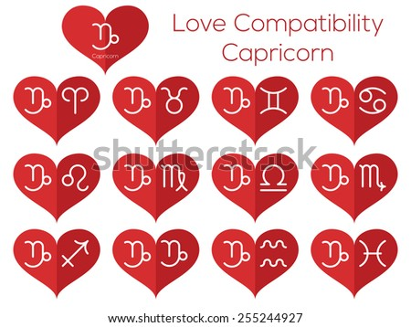 Love compatibility - Capricorn. Astrological signs of the zodiac. Vector set of flat thin line icons in heart. - stock vector