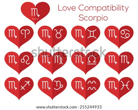 Love compatibility - Scorpio. Astrological signs of the zodiac. Vector set of flat thin line icons in heart. - stock vector