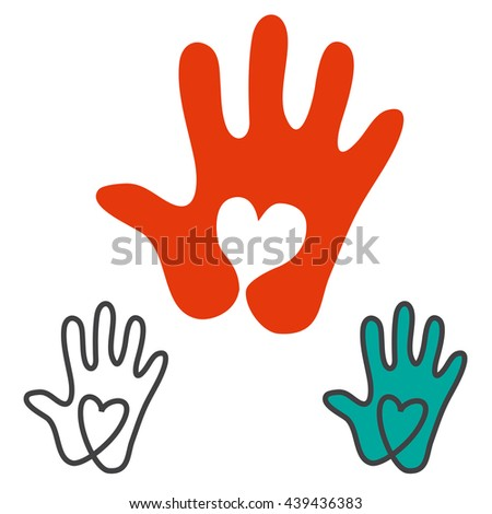 Love concept. Heart with hand. Charity concept. - stock vector