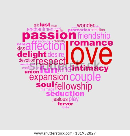Love concept made with words drawing an heart - easy colors change by selecting same fill color - stock vector