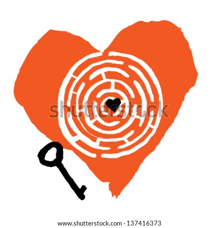 Love concept maze with heart and key. - stock vector