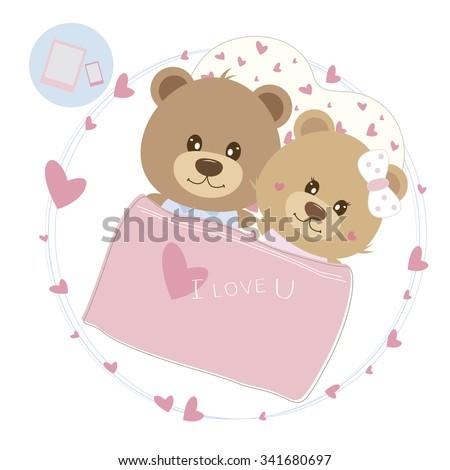 Love concept of couple teddy bear sleeping on the bed - stock vector