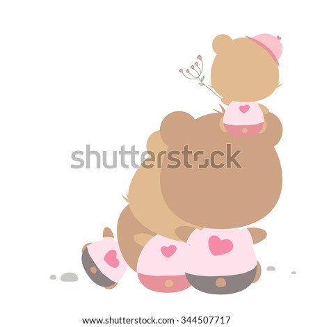 Love concept of teddy bear family  - stock vector