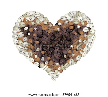 Love Concept, Stack of Various Colors of Roasted Coffee Beans Forming in A Heart Shape Isolated on A White Background - stock vector
