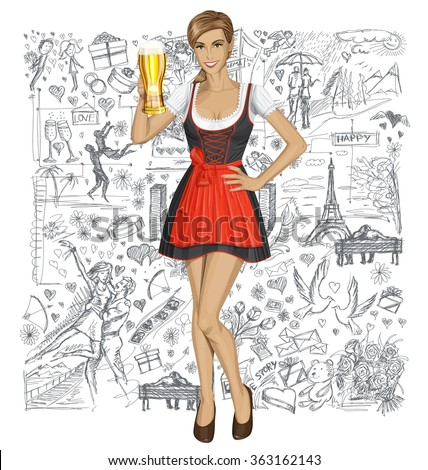 Love concept. Vector cute woman in drindl on oktoberfest with beer mug against love story elements background - stock vector