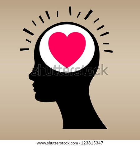 Love concept with human head. Vector illustration - stock vector