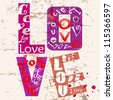 love concept with word/letter , grungy style - stock vector