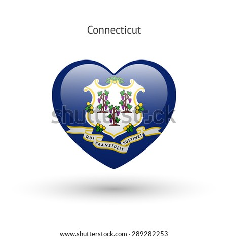 Love Connecticut state symbol. Heart flag icon. Vector illustration. - stock vector