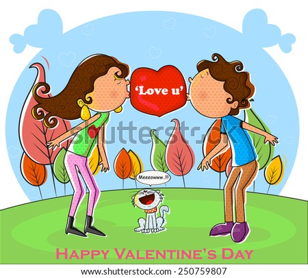 Love couple kissing and making heart in vector - stock vector