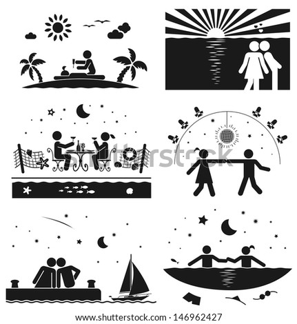 Love couple on vacation at the sea - stock vector