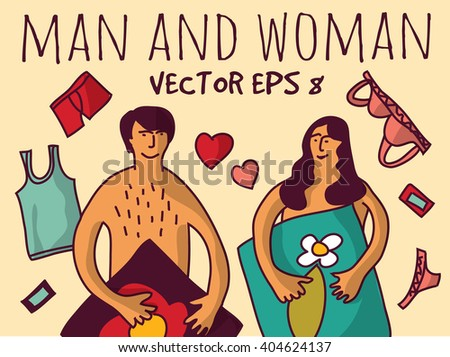 Love couple relations man and woman color. Color vector illustration. EPS8 - stock vector