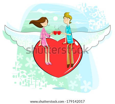 Love couple sitting on heart with coffee mug - stock vector