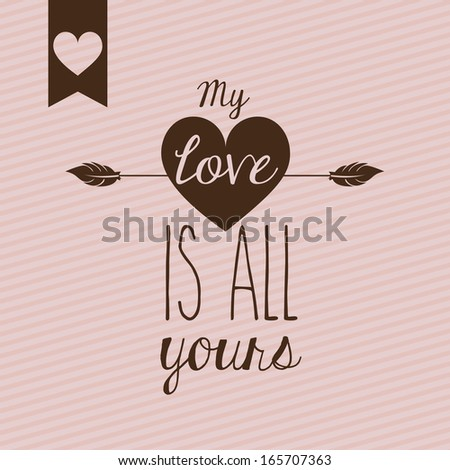 love design over pink  background vector illustration  - stock vector
