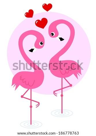 love flamingos - stock vector