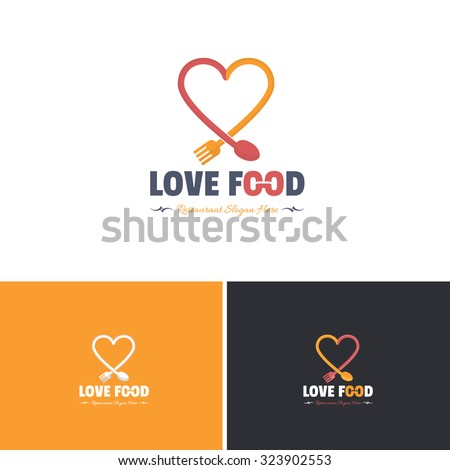 Love Food and Heart Vector Icons, Logos, Sign, Symbol Template  - stock vector