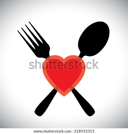 love food concept vector icon with spoon fork and heart symbols - stock vector