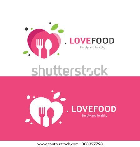 Love Food Logo,Restaurant logo,food and cooking logo,vector logo tempalate - stock vector
