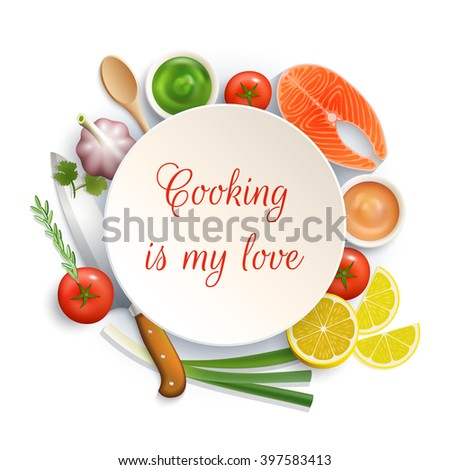 Love for cooking flat lay ingredients composition photo build around the plate with cock knife vector illustration - stock vector