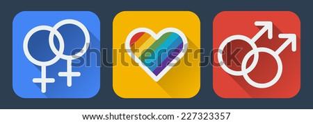 Love gay flat icon.Vector illustration - stock vector
