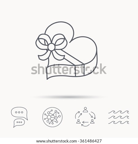 Love gift box icon. Heart with bow sign. Global connect network, ocean wave and chat dialog icons. Teamwork symbol. - stock vector
