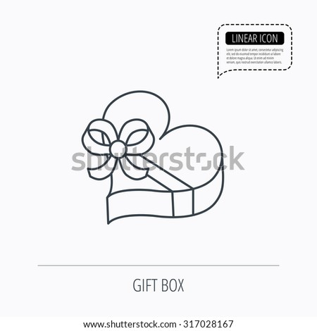 Love gift box icon. Heart with bow sign. Linear outline icon. Speech bubble of dotted line. Vector - stock vector