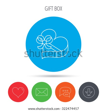 Love gift box icon. Heart with bow sign. Mail, download and speech bubble buttons. Like symbol. Vector - stock vector