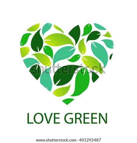 Love green with green leaves forming heart  - stock vector