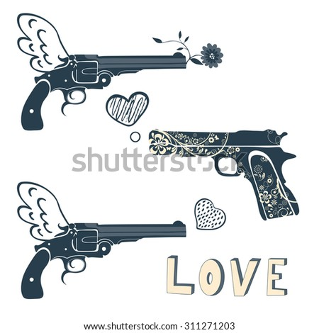 Love guns set. Vintage emblems with gun shooting a heart. vector illustration - stock vector