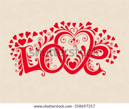 Love hand lettering. Valentines day card.   - stock vector