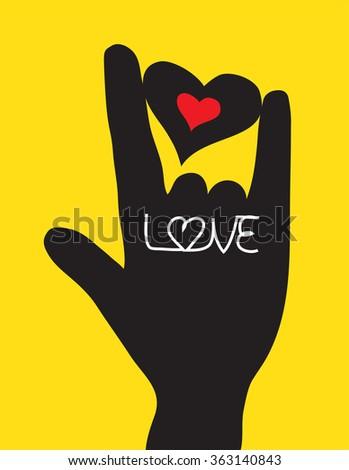 Love hand sign. Love symbol. Vector illustration - stock vector