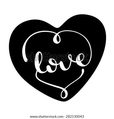 Love handwritten typographic poster, handmade calligraphy, lettering, vector background - stock vector