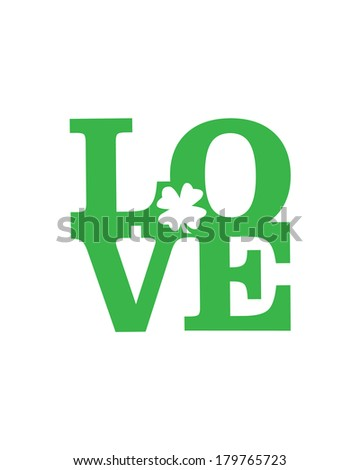 LOVE Happy St. Patrick's Day card, Font Type - stock vector