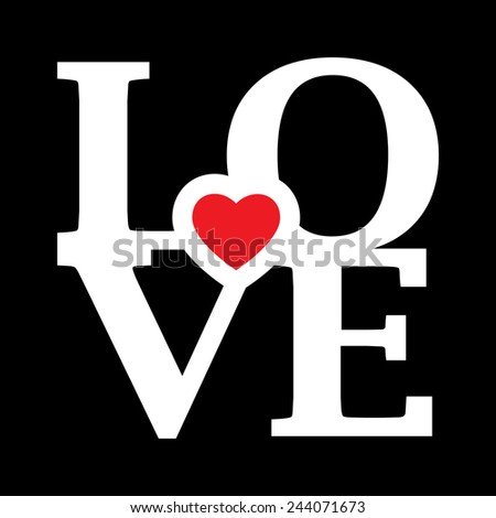 LOVE Happy Valentines Day - stock vector