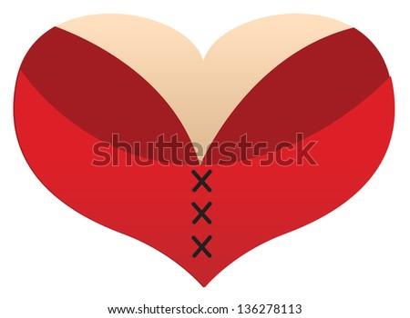 Love Heart boobs - stock vector