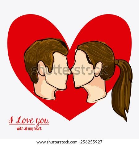 love heart, design over white background, vector illustration - stock vector