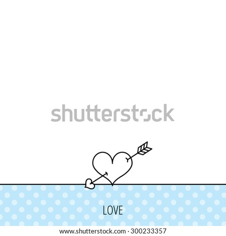 Love heart icon. Amour arrow sign. Circles seamless pattern. Background with icon. Vector - stock vector