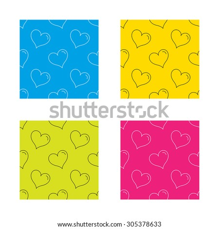 Love heart icon. Life sign. Textures with icon. Seamless patterns set. Vector - stock vector