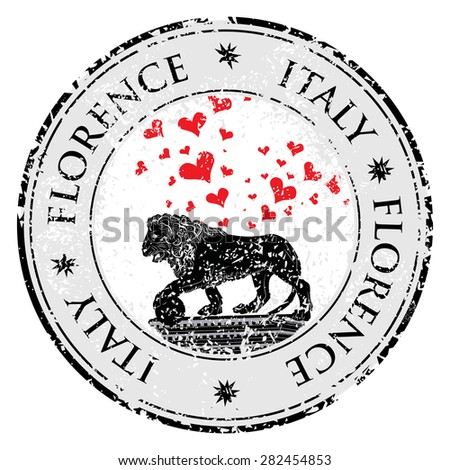 Love heart travel destination grunge rubber stamp with symbol of Florence, statue of a lion,  Italy, vector illustration - stock vector