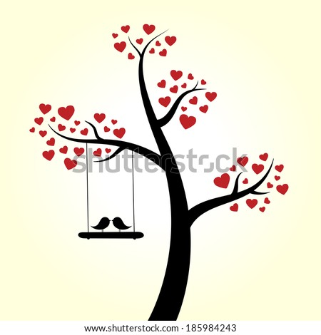 Love heart tree love birds - stock vector