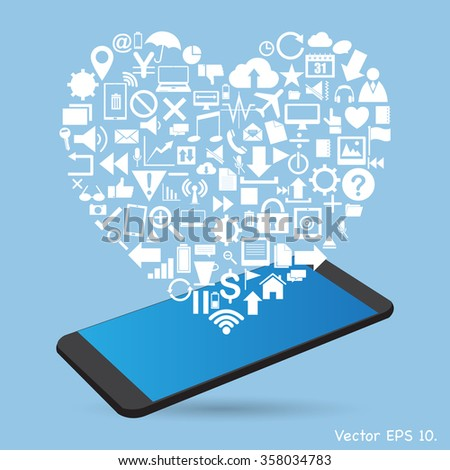 Love Heart with Creative business icons, technology icons and strategy planning web icons Idea on mobile phone, Vector Illustration EPS 10. - stock vector