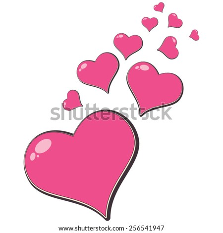 Love hearts, A collection of pink colored love hearts, there are ten pink padded love hearts. - stock vector